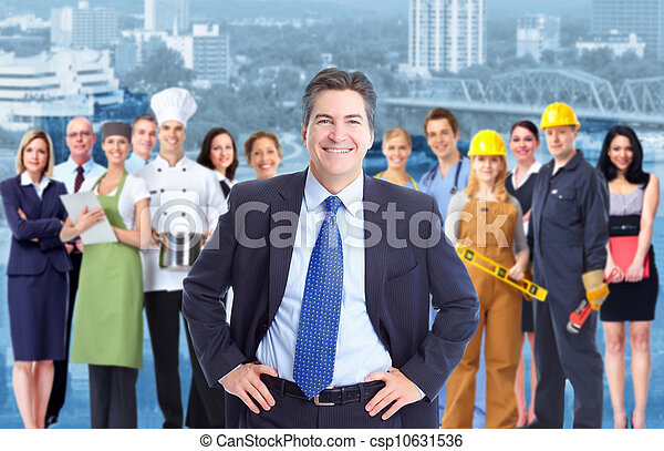 Businessman and Group of industrial workers. - csp10631536