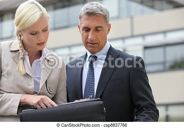 businessman and his assistant working on project - csp8837766