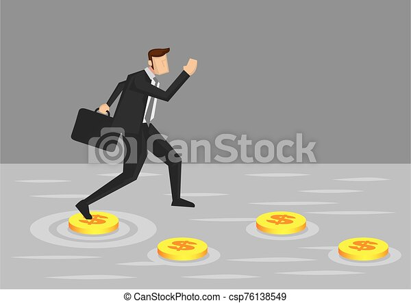 Businessman and Money Stepping Stones Vector Illustration - csp76138549