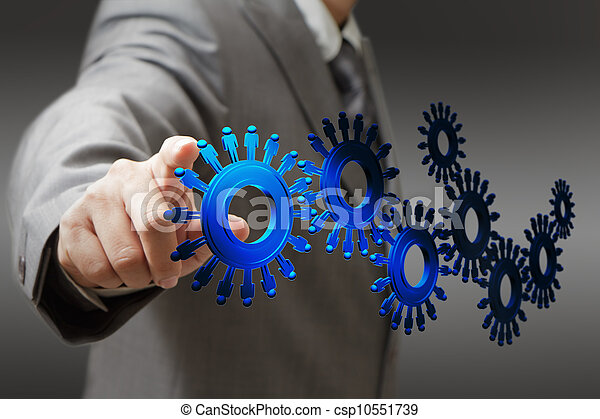 businessman and people cogs as concept - csp10551739