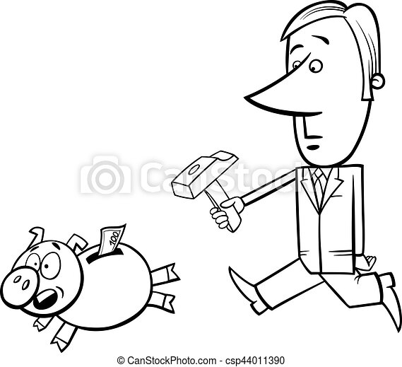 Businessman And Piggy Bank Black And White Concept Cartoon