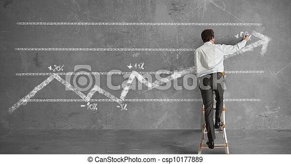 Businessman and statistics trend - csp10177889