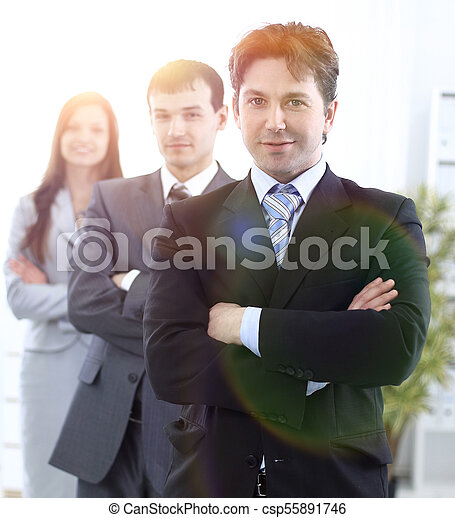 businessman and successful business team - csp55891746