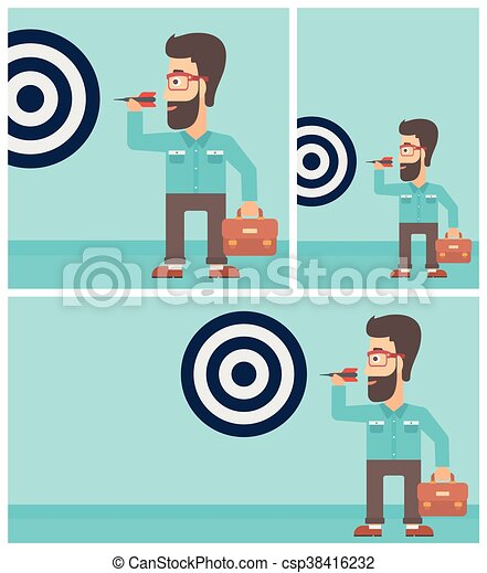 Businessman and target board vector illustration. - csp38416232