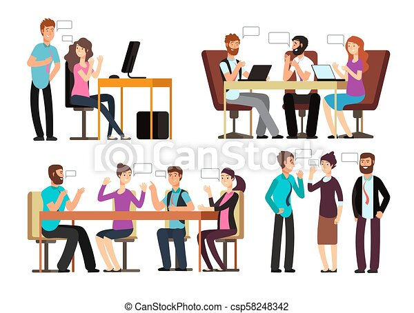 Businessman and woman have conversation in different business situations in  office  People meeting vector characters set