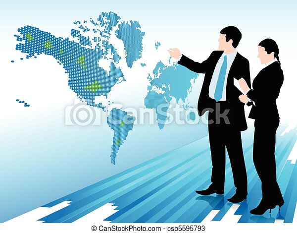 Businessman and woman looking at a digital world map - csp5595793