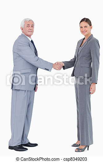 Businessman and woman shaking hands - csp8349203