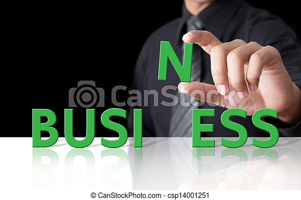 Businessman and word Business - csp14001251