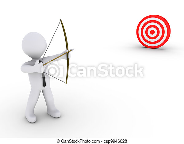 Businessman as an archer aiming at a target - csp9946628