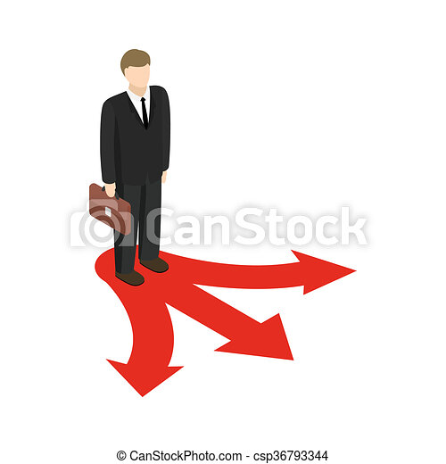 businessman at crossroad icon isometric 3d style drawing rh canstockphoto com
