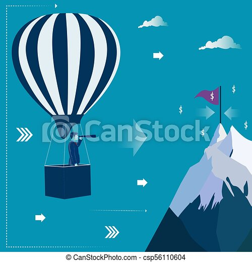 Businessman at the air balloon looking through telescope for his target. Business concept vector illustration - csp56110604