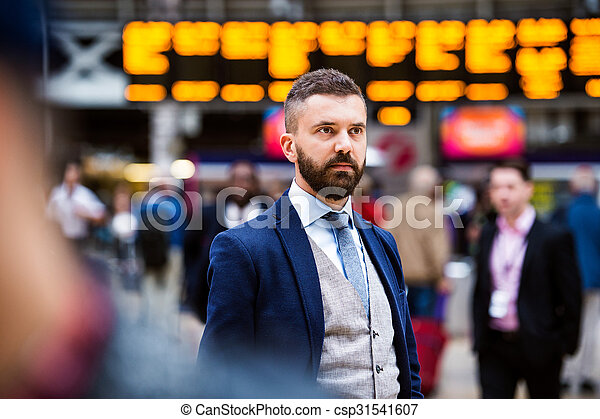 Businessman at the station - csp31541607