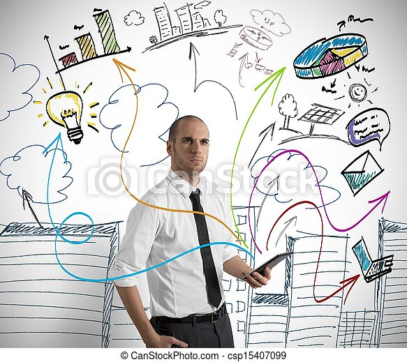 Businessman at work with tablet - csp15407099