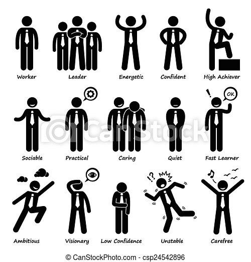 Businessman Attitude Personalities  - csp24542896