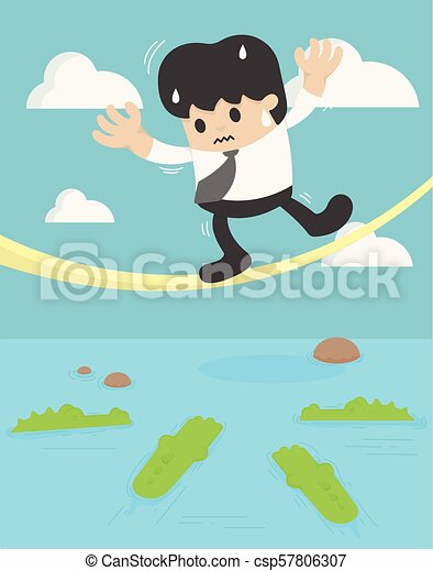 Businessman balancing on the rope crocodile. business crisis concept risk - csp57806307