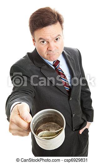 Businessman Begging for Change - csp6929831