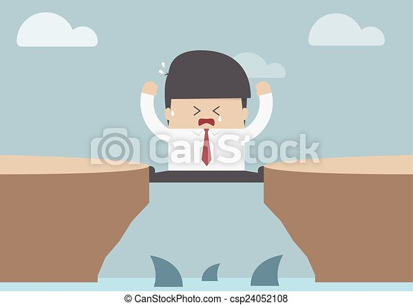 Businessman between the cliff with  - csp24052108