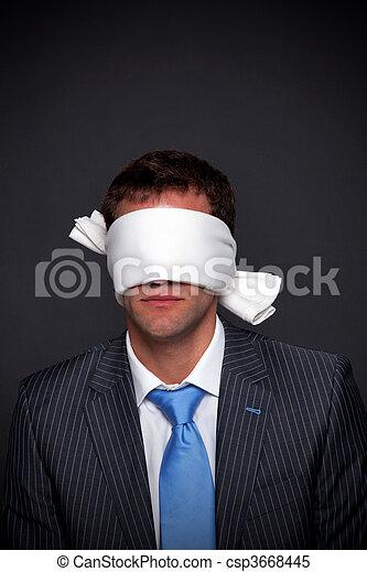 Businessman blindfolded - csp3668445