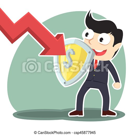 businessman blocking down graph with shield - csp45877945