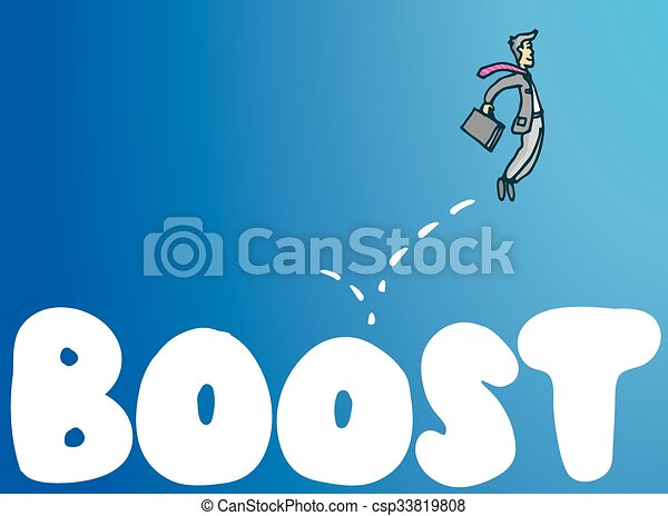 Businessman bouncing on boost word business concept - csp33819808