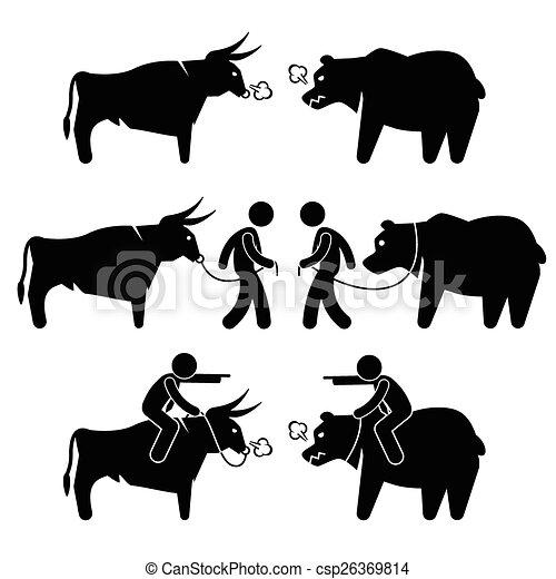 Businessman Bull and Bear - csp26369814