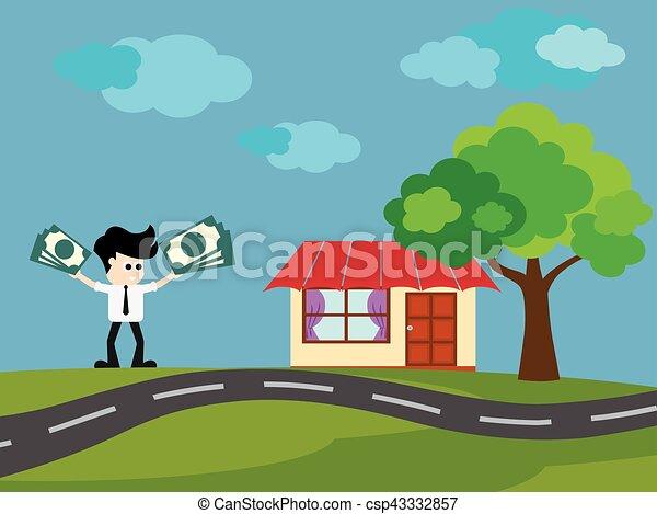 Businessman buy House - csp43332857