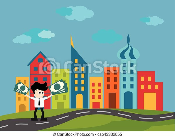 Businessman buy House , vector illustration - csp43332855