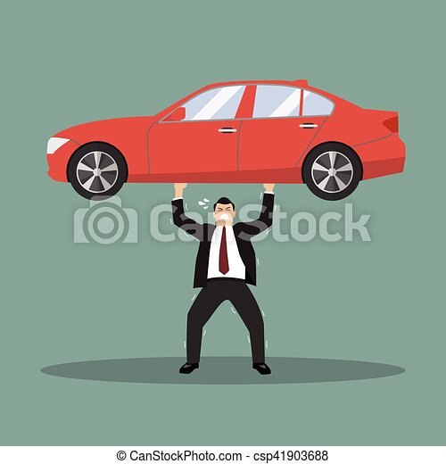 Businessman carry a heavy car - csp41903688