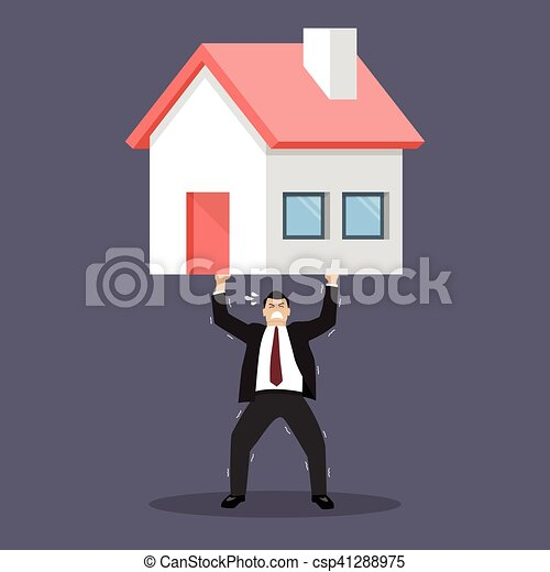Businessman carry a heavy home - csp41288975