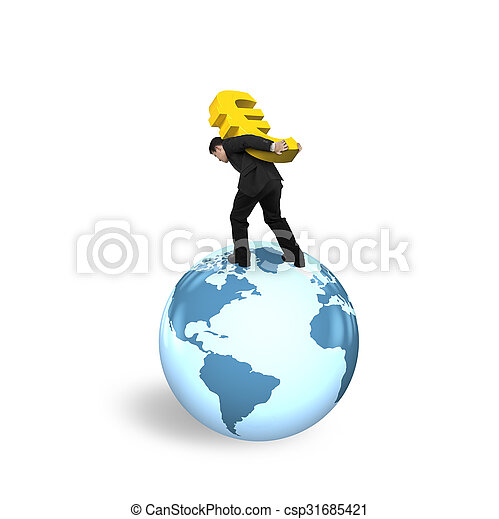 Businessman carrying euro sign standing on globe world map businessman carrying euro sign standing on globe world map csp31685421 gumiabroncs Images