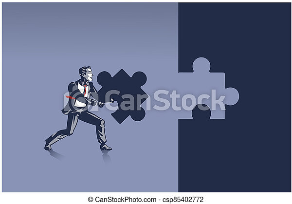 Businessman Carrying Piece of Jigsaw Puzzle Ready to Place it Correctly Illustration Concept - csp85402772