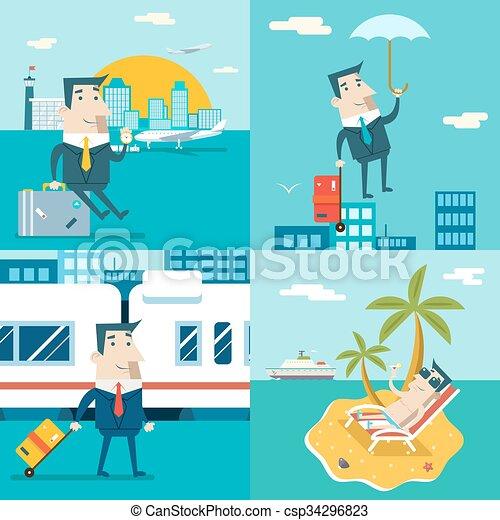 Businessman Cartoon Character Travel Train Ship Airplane Mobile Business Marketing Urban Sky Background Modern Flat Design Vector Illustration - csp34296823