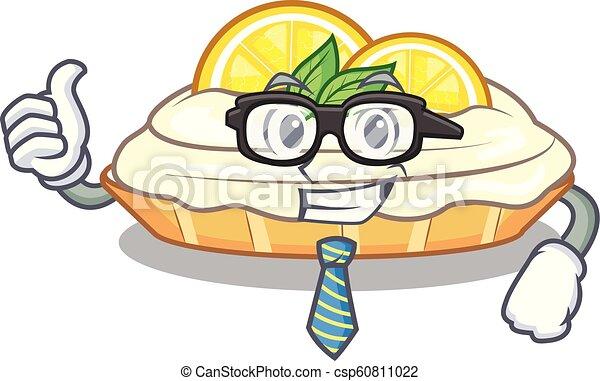 Businessman Cartoon Lemon Cake With Lemon Slice Vector Illustration