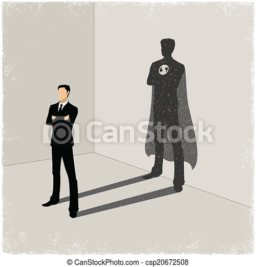 Businessman casting superhero shadow - csp20672508