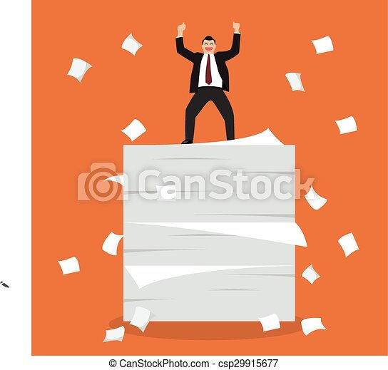 Businessman celebrating on a lot of documents - csp29915677