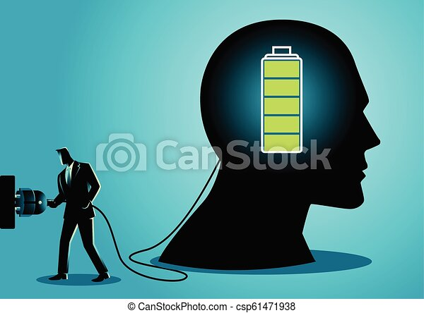 Businessman charging a brain - csp61471938