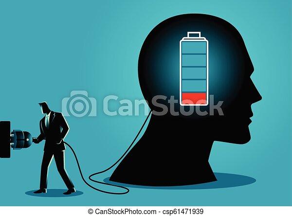 Businessman charging a brain - csp61471939