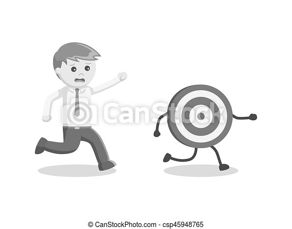 Businessman chasing his target black and white style csp45948765