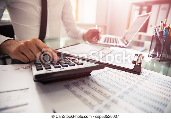 Businessman Checking Invoice - csp58528007