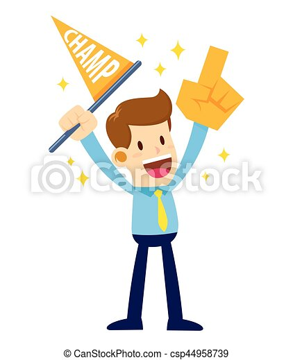 businessman cheering supporting while waving flag and hand rh canstockphoto com cheering clipart animated cheer clipart