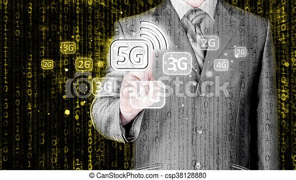 Businessman choosing network connection