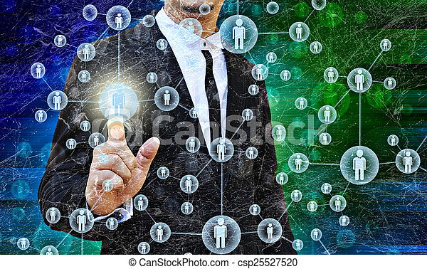 Businessman Choosing the right person in the old texture - csp25527520