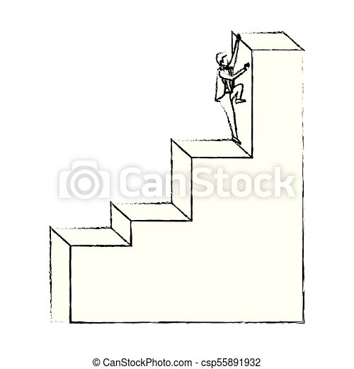 Businessman Climbing Stair Block Structure With Light Bulb In The Top  Silhouette Blurred Monochrome   Csp55891932