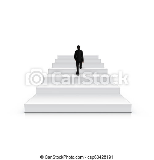 Businessman Climbing Stairs Be The First Concept - csp60428191