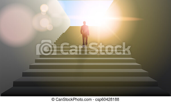 Businessman Climbing Stairs Be The First Concept - csp60428188