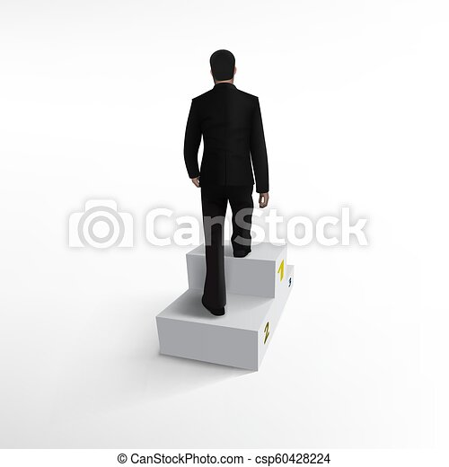 Businessman Climbing Stairs Be The First Concept - csp60428224