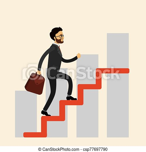 Businessman climbs the stairs, - csp77697790