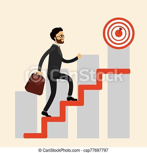 Businessman climbs the stairs, - csp77697797