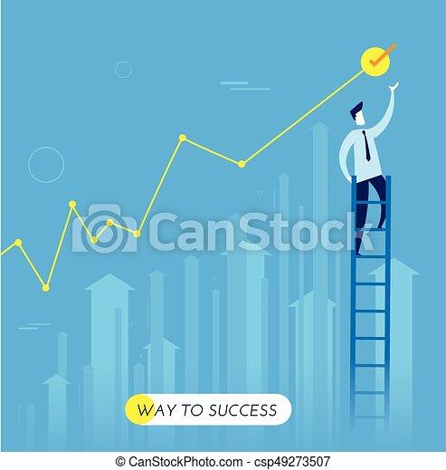 Businessman climbs the stairs - csp49273507