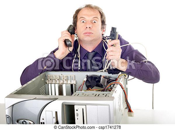 businessman computer panic - csp1741278